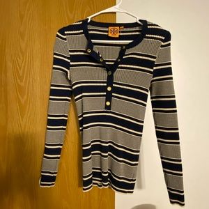 Tory Burch Rare Nagy Striped Henley Sweater
